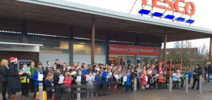 Carol singing at Tesco
